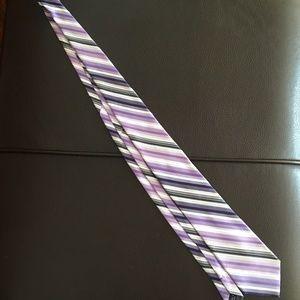Calvin Klein Purple and Black Striped Necktie
